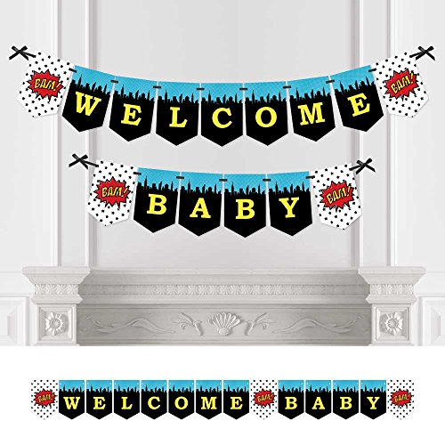 Big Dot of Happiness Bam Superhero - Baby Shower Bunting Banner - Comic Book Party Decorations - Welcome -