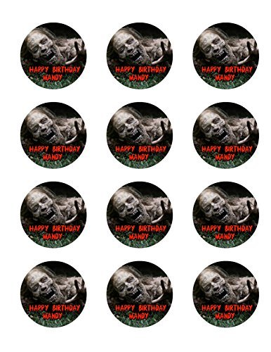 The Walking Dead 12 Cupcake Toppers TWD Zombie Edible Image Photo Cake Topper Sheet Personalized Custom Customized Birthday Party - 2.5 Inch (12 Toppers) - 76888 -