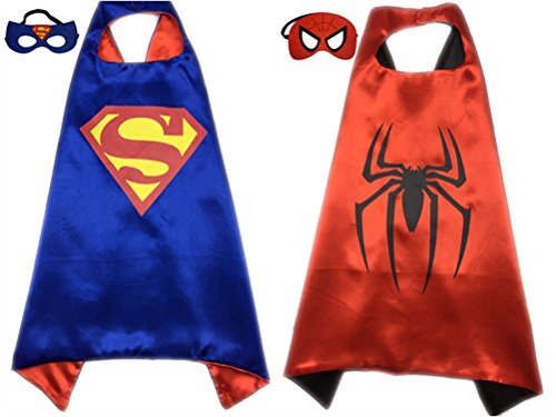 Pack of 2 Superhero Princess CAPE & MASK SET Kids Children's Halloween Costume (Superman & Spiderman)