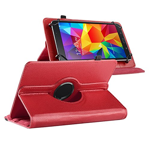 "Theo&Cleo Red 360 Degree Rotating 7"" 7 inch Leather Cover..."