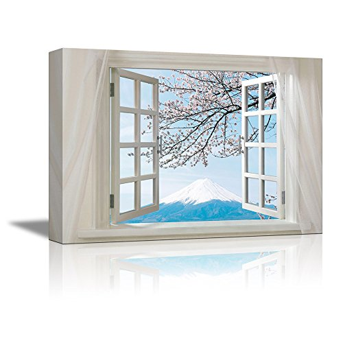 Glimpse into Cherry Blossom with Mountain Fuji from Afar out of Open Window Wall Decor ation