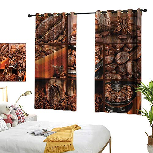 (G Idle Sky Printed Curtain Brown Non-Toxic Curtain Antique Grinder Coffee Beans 72