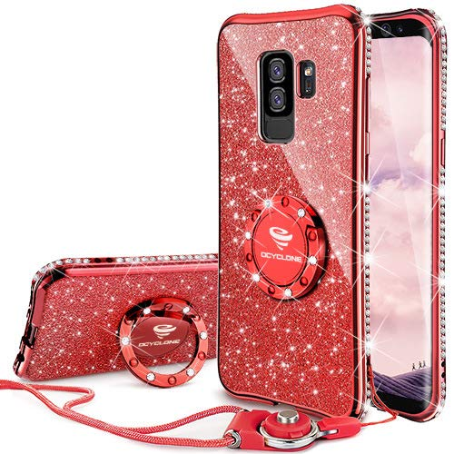 Galaxy S9 Plus Case, Glitter Bling Diamond Rhinestone Bumper Cute Galaxy S9 Plus Phone Case for Girls with Ring Kickstand Sparkly Protective Samsung Galaxy S9 Plus Case for Girl Women - Red