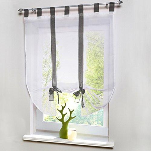 HongYa Raffrollo Voile Transparent Vorhang mit Band BxH 140x140cm Grau