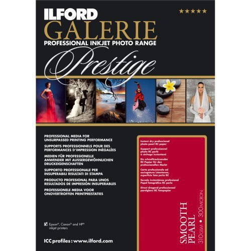 - ILFORD GALERIE Prestige Smooth Pearl - 5 x 7 Inches 100 Sheets (2001744)  High-Density Heavyweight Professional Inkjet Photo Range Paper with HDR Instant Dry Nanoporous Surface