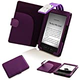 Forefront Cases® Amazon Kindle (4th Generation & 5th Generation - 2012 Release) Case Cover with detachable LED Reading Light – Padded for extra protection with full device protection (PURPLE)