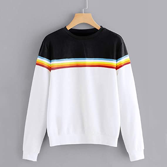Amazon.com: Maonet Women Sweater Solid Color Back Ribbon Ribbon Rainbow Long Sleeve Sweatshirt: Clothing