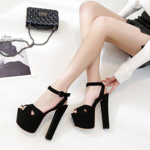 bottomed Etapa Pasarela Black T Mujer Tacones Banquete Zapatos Altos 17cm Thick Sandalias De n8zZOY4nq