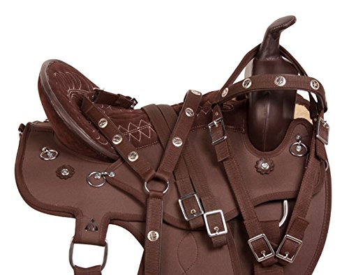 NEW BROWN ROUND SKIRT CLOSE CONTACT SYNTHETIC WESTERN PLEASURE ENDURANCE HORSE SADDLE TACK 16 17 18 (18) (Round Skirt Saddle Pleasure)