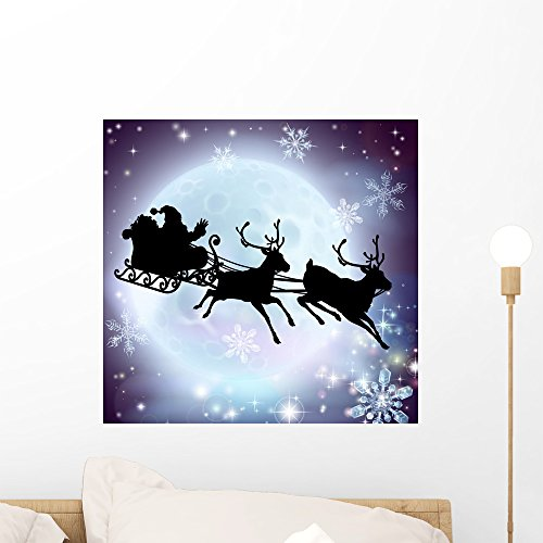 Santa Moon Sleigh Silhouette Wall Mural by Wallmonkeys Peel and Stick Graphic (18 in W x 17 in H) WM166308 (Sleigh Shape)