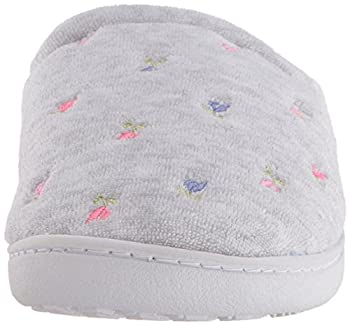 Isotoner Women's Classic Terry Clog Slip On Slipper, Heather Grey Flower, X-small5.5-6 M Us 3