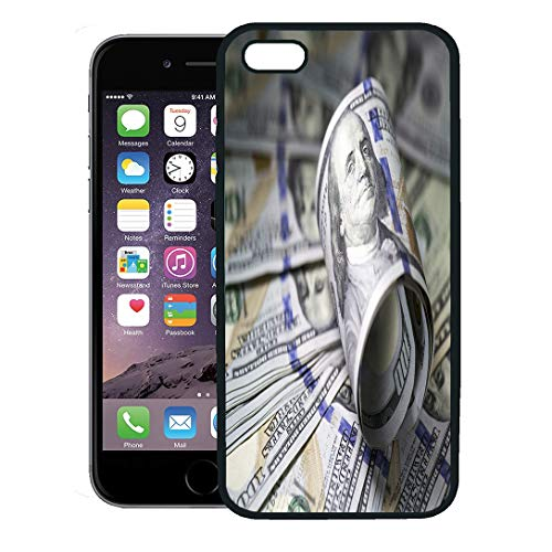 Semtomn Phone Case for iPhone 8 Plus case,Money Roll of Hundred Dollar Bill on Reserve Banknote Benjamin Closeup iPhone 7 Plus case Cover,Black