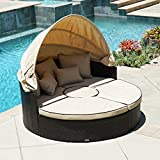 Belleze 5-Piece Outdoor Daybed Sectional Set Round Retractable Canopy Rattan Wicker Furniture Sofa w/Cushion