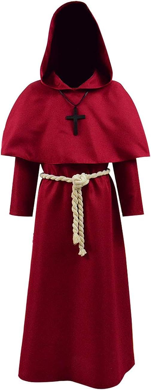 TISEA Mens Monk Hooded Priest Robe Tunic Halloween Cosplay Costume