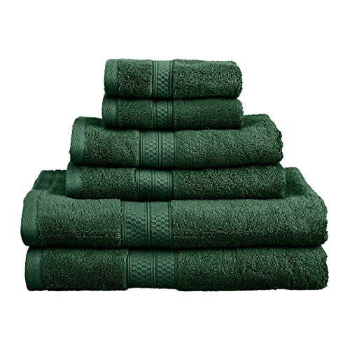 Blue Nile Mills 6-Piece Towel Set, Soft Rayon From Bamboo, Quick Dry, Hunter Green (Bathroom Set Hunters)