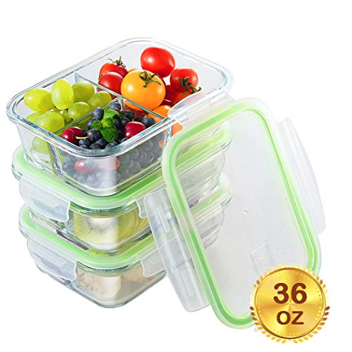 Halloween Food Meals (Glass Meal Prep Containers 3 Compartment with Lids[3-Pack, 36oz],Airtight Glass lunch Containers,Glass Food Storage Containers BPA-Free,Microwave, Oven, Freezer, Dishwasher)