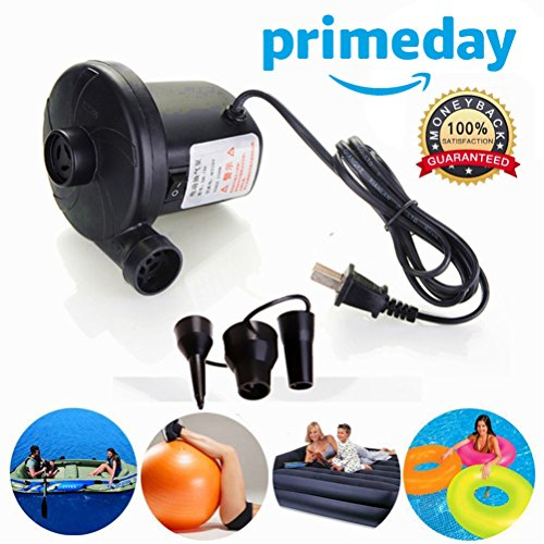 Electric Air Pump for Inflatable Floats,Portable Deflating Air Mattress Pump to Blow Up Bed Pool Toy Raft Deflates Inflates 110-120 Volt,Ac Quick-fill Inflator Deflator, Electrical Air Bed (Toy Pump Case)