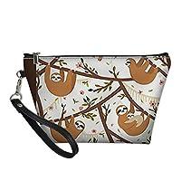 Freewander Makeup Cosmetic Tote Bag Carry Case Women Cosmetic Bag with Zipper Cute Sloth Handbag for Girls