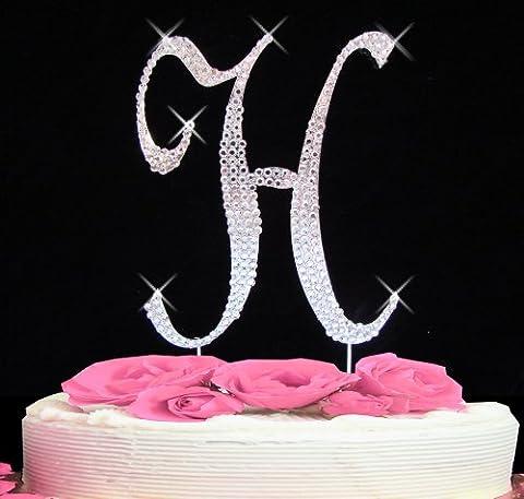 Letter H - Swarovski Crystal Monogram Wedding Cake Topper Letter - Swarovski Crystal Wedding Cake
