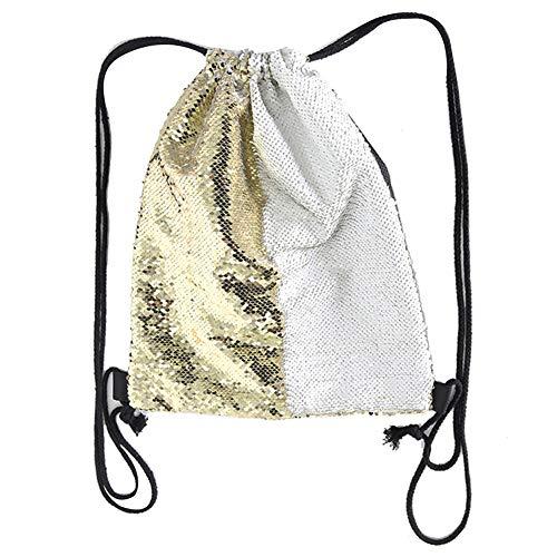 (loinhgeo Women Dual Color Sequined, Polyester Drawstring Bag,Outdoor, Drawstring Backpack,Sport Gym Sack Travel Storage Bag Golden)