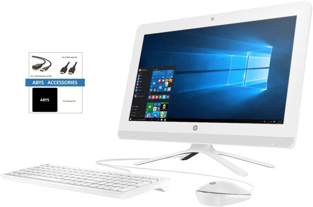 "HP 19.5"" HD+ (1600 x 900) WLED All-in-One AIO Desktop, AMD A4-9125 up to 2.6GHz, 8GB DDR4, 1TB HDD, DVD-RW, Media Card Reader, WiFi, Bluetooth, Windows 10, Keyboard and Mouse, ABYS Accessory Bundle"