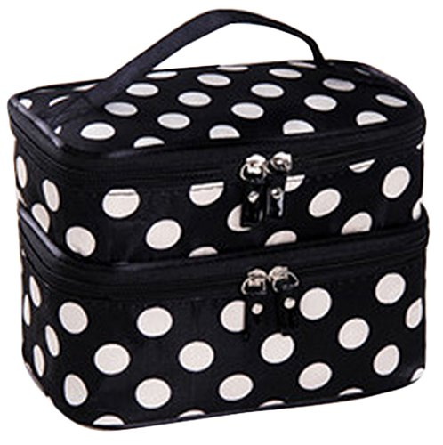 Cosmetic Bag Double Layer Dot Pattern Travel Toiletry Bag Organizer With Mirror