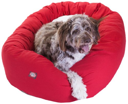 52 inch Red & Sherpa Bagel Dog Bed By Majestic Pet Products by Majestic Pet