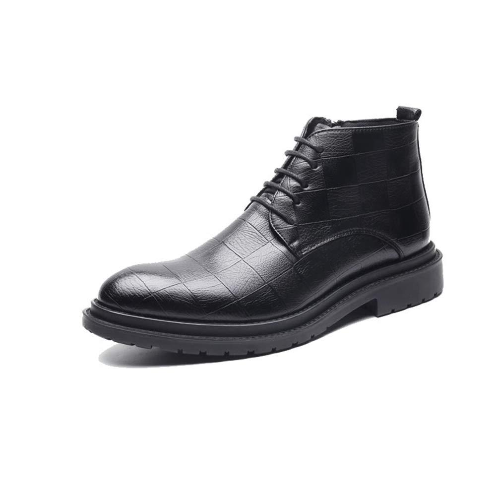 Jusheng Botas de Ocio para para para Hombre Casual Chic Classic Grid Pattern High Top Zapatos Formales. (Color : Negro, tamaño : 42 EU) bd67a1