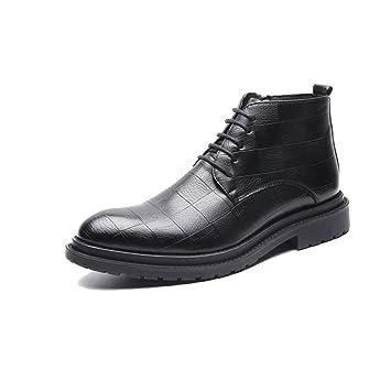 Apragaz Botines de Cuero Chukka para Hombre Elegante, Clásico Patrón de Rejilla con Cordones, Zapato de Vestir Oxford (Color : Negro, tamaño : 40 EU): ...