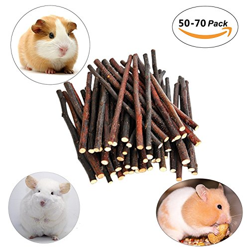 Apple Sticks Pet Snacks Chew Toys 200g(7oz) for Chinchilla Squirrel Guinea Pigs Hamster Rabbits Rodent (About 50-70 Sticks)