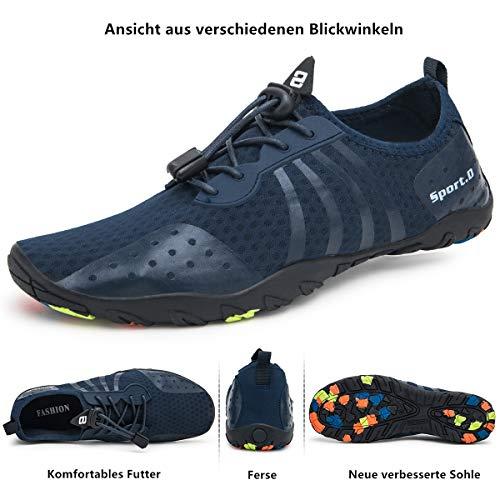 De Lekuni Zapatos Azul Playa Soles Rápido Piscina Respirable Unisex Color Secado Natación 80s Agua Calzado rwUwFE