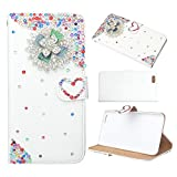 Evtech(tm) Colorful Rhinestone Floral Love-shape White PU Leather Case Folio Back and Flip Stand Cover with Phone Holder & Card Slots for LG Optimus L90
