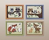 "Woodland Animal Tales Nursery Art Prints (11""x14"", (4) Set of Four)"