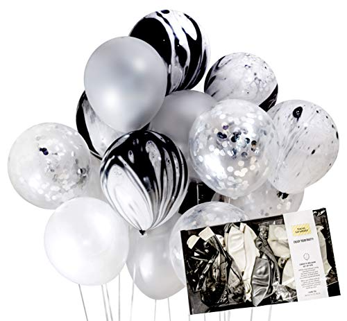 Modern Black and Silver Party Decoration Marble Confetti Balloon (Thickened 12