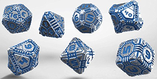 Q Workshop QWOMTE88 Tech Dice Set Board Game, Metal/Blue by Q Workshop