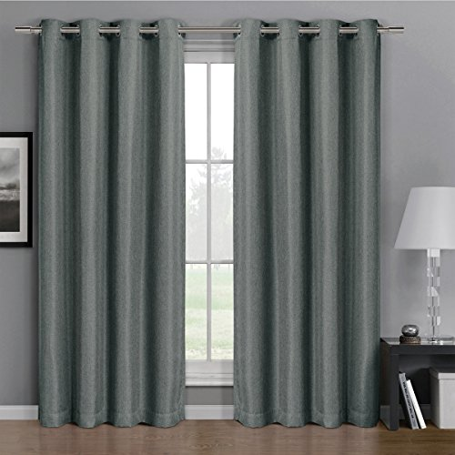 One Top Grommet Gulfport Faux Linen Blackout Weave Thermal Insulated Curtain Panel  Elegant And Contemporary Gulfport Blackout Panel  Grey 52  By 63  Panel