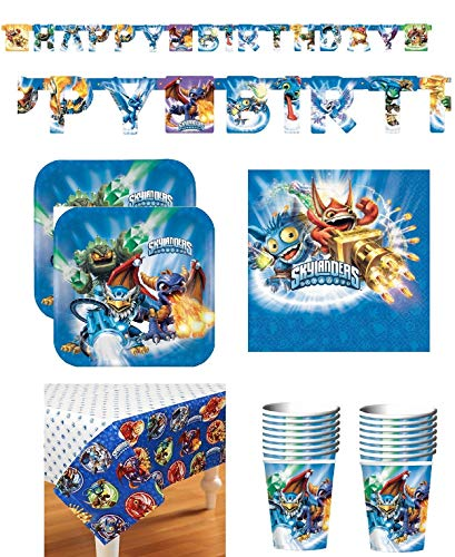 SKYLANDERS Birthday Party Supply Bundle Set for 16 includes Plates, Cups, Napkins, Table Cover, Happy Birthday -