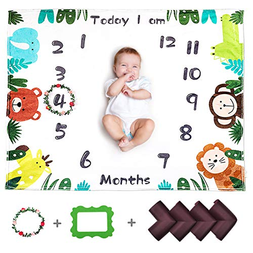CALMSEN Baby Monthly Milestone Blanket for Boy Girl, Organic Fleece Ultra Soft, with Floral Wreath & Corner Guard, for…