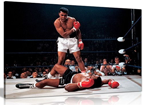 (Muhammad Ali Boxing Sonny Liston Canvas Wall Art Picture Print (36x24in))