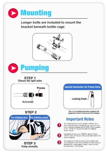 BikingMyWay High Volume High Pressure (300PSI) Convertible Hand Bike Pump with Gauge - Frame Mounting Kit Included - Portable Bike Suspension Fork Pump - Lightweight Bike Shock Pump - Also Works as High Volume Tire Pump - CNC Machined Schrader and Presta Flip Head - Alloy Made Barrels