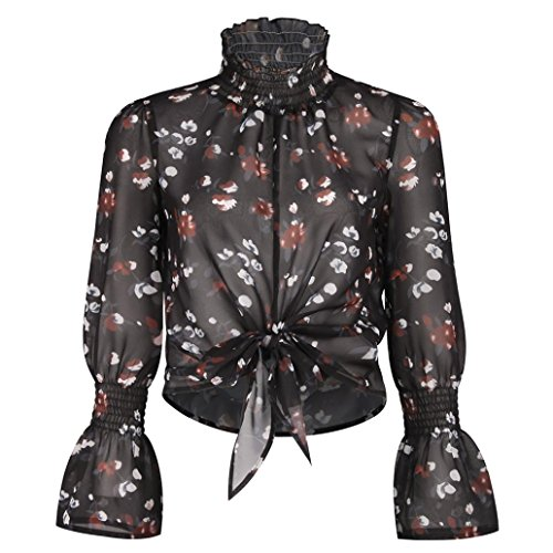 Flare Turtleneck (Theshy Women's Fashion Chiffon Floral Flare Sleeve Turtleneck Short Bow Shirt Print Top Blouse Crop (S, Black))