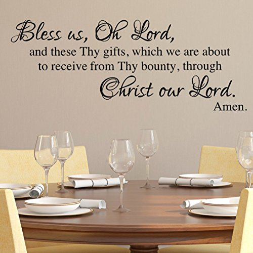 Bless us Oh Lord, Dinner Prayer Wall Decal, Religious Wall D