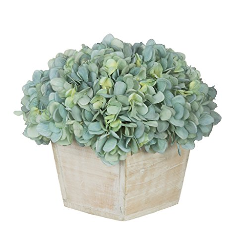 House of Silk Flowers Artificial Hydrangea in White-Washed Wood Cube (Teal)