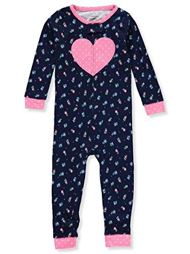 Carter's Baby Girls' 1-Piece Snug Fit Cotton Footless Pajamas (Heart/Navy, 18 Months) - Carters 1 Piece Cotton