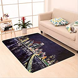 Sophiehome skid Slip rubber back antibacterial  Area Rug miami coast lights late evening original palette knife oil painting on canvas 367922501 Home Decorative