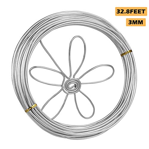 Eliseo 3mm Armature Wire, 32.8 Feet Silver Aluminum Wire, Bendable