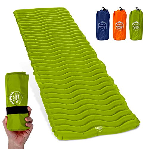 Rugged Camp Air Mat+ Camping Sleeping Pad - Ultralight 17.2 OZ - Inflatable Sleeping Air Mattress for Backpacking, Hiking, Traveling – Lightweight & Compact Camp Sleep Pad (Air Mat+)