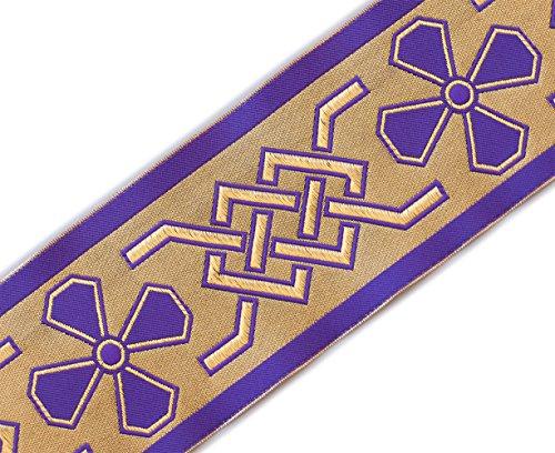 Knot Celtic Trim (Very Wide, Christian, Celtic, Jacquard Trim. Purple 3¾