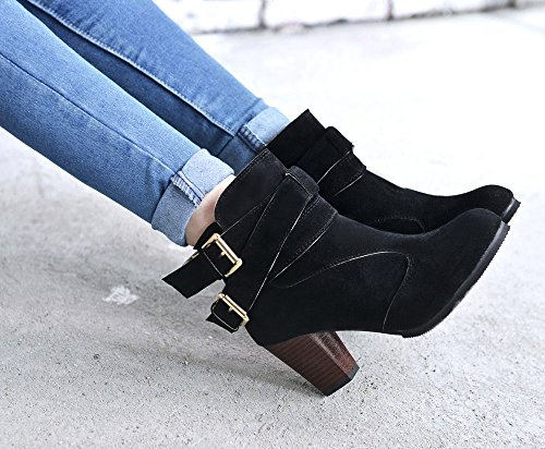 Belt High Buckle Women Faux for Boots Boots C Ladies Wetsuit Martin Shoes Heels Women Boots S Shoes Ankle Skins Boots Black 1q5E8w
