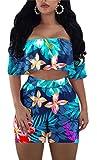 Molisry Women Off Shoulder Floral Print Crop Tops Short Pants Jumpsuits 2 Piece Outfits